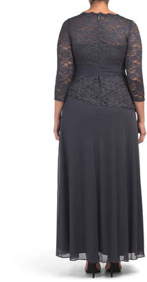 Plus Lace Bodice Gown With Jewel Accent