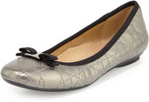 Neiman Marcus Sabrina Quilted Flat, Pewter