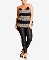City Chic Trendy Plus Size Lace-Stripe Peplum Tank