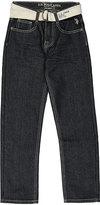 U.S. Polo Assn. Dark Crinkle Belted Five-Pocket Denim Jeans - Boys