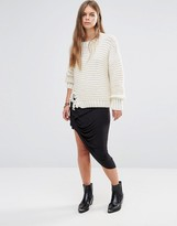 Maison Scotch Twisted Asymmetric Skirt