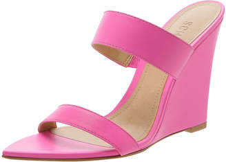 Schutz Soraya Leather Wedge Slide Sandals
