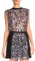 Carven Sleeveless Floral Top, Black/Lilac