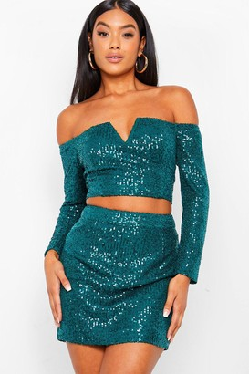 boohoo Sequin Off Shoulder V Top and Mini Skirt Co-ord