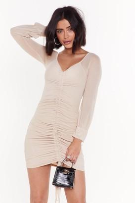 Nasty Gal Womens Big Time Ruche Mesh Mini Dress - Stone