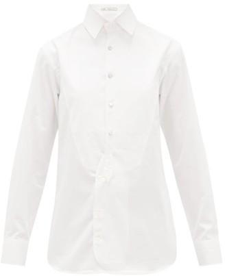 Umit Benan B+ - Striped-yoke Cotton Tuxedo Shirt - White