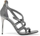 Jimmy Choo Knot metallic textured-leather sandals