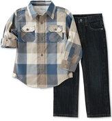 Calvin Klein Baby Boys' 2-Pk. Plaid Shirt & Jeans Set