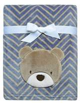 Baby Starters Printed Soft Plush Blanket with Bear Applique and Embroidery