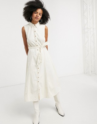 Object denim midi shirt dress with tie front in cream