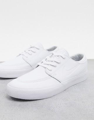 Nike SB Zoom Janoski Premium leather trainers in triple white