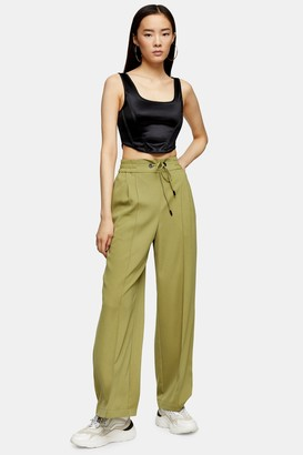 Topshop Womens Olive Wide Leg Jogger Style Trousers - Olive