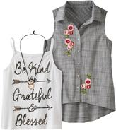 Knitworks Girls 7-16 Embroidered Sleeveless Shirt & Graphic Tank Top Set with Heart Necklace