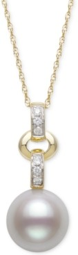 "Belle de Mer Cultured Freshwater Pearl (8mm) & Diamond (1/20 ct. t.w.) 18"" Pendant Necklace in 14k Gold"