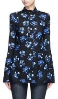 Proenza Schouler Floral print raw trim button georgette blouse
