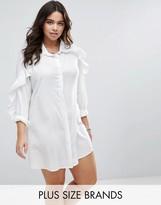 Boohoo Plus Ruffle Sleeve Shirt Dress
