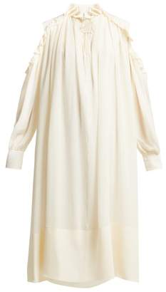 Chloé Ruffled Cut-out Shoulder Silk-georgette Midi Dress - Womens - Ivory