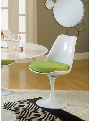 Bsd National Supplies Deland Tulip Style Swivel Dining Chair with Green Cushioned Seat