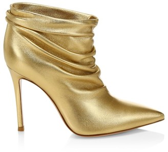 Gianvito Rossi Cyril Ruched Metallic Leather Ankle Boots