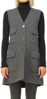 Max Studio Heather Doubleweave Twill Elongated Vest