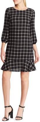 Chaps Windowpane Plaid Crepe Dress