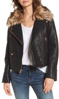 Andrew Marc Women's Beverly Faux Leather Jacket With Faux Fur Trim