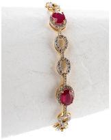 NEW RARITIES 14k Gold Vermeil Sterling Silver Ruby White Zircon Tennis Bracelet