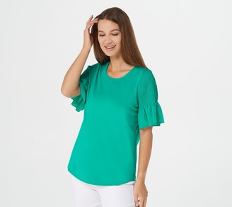 Belle By Kim Gravel TripleLuxe Knit Top with Smocked Sleeve