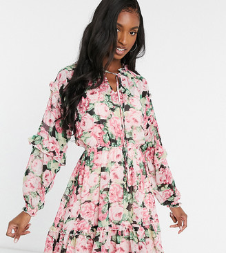 Vero Moda Tall skater dress with ruffle detail in pink floral