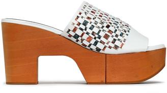 Clergerie Cosy Snake-effect Leather Platform Slides