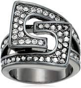"GUESS Basic"" Black Square Stone Prong Set Ring, Size 7"