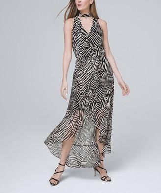White House Black Market Women's Maxi Dresses Black - Black & Ecru Abstract Sleeveless Hi-Low Maxi Dress - Women