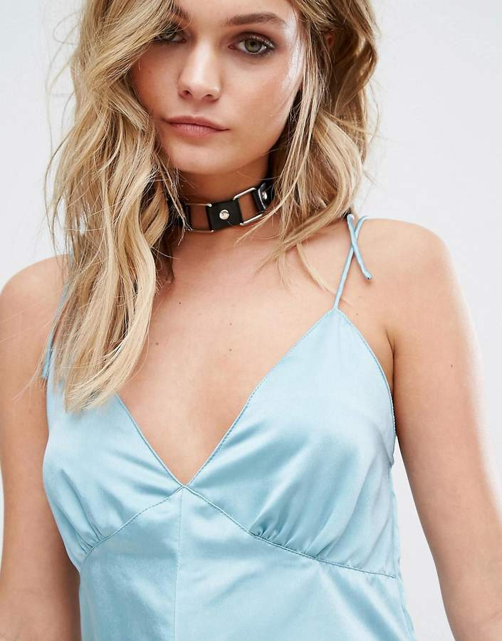 Motel Luxe Cami Romper In Satin