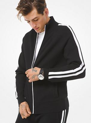 Michael Kors Striped Viscose Blend Track Jacket - Black