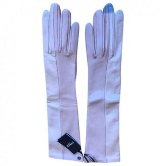 Fendi White Leather Gloves