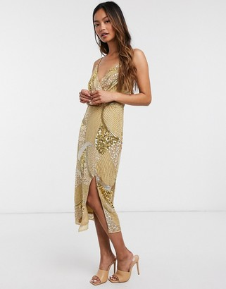 Virgos Lounge all over embellished midi dress with split in gold