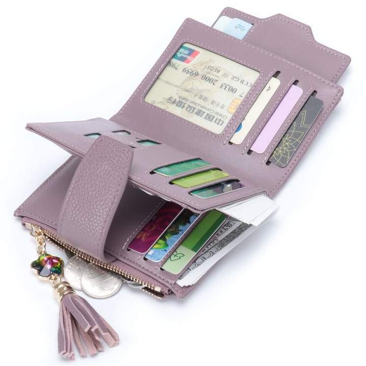 aa83a926a1cd MuLier Women's Mini Soft Leather Bifold Wallet With ID Window Card Sleeve  Coin Purse with tassels