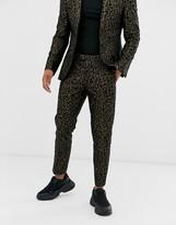 Tux Till Dawn Tux Til Dawn leopard print skinny fit cropped suit trousers-Brown