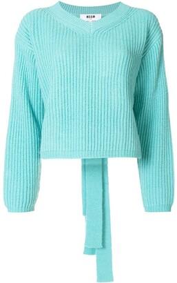 MSGM Ribbed Knit Back-Tie Jumper