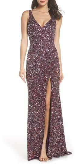 Mac Duggal Sequin Slit Gown