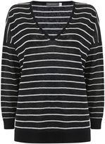 Mint Velvet Navy Stripe V-Neck Boxy Knit
