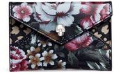 Alexander McQueen Skull floral print leather envelope card holder