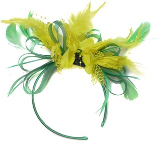 Caprilite Fashion Green and Yellow Fascinator Light Net Hoop Feather Hair Headband Wedding Royal Ascot Races