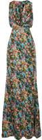 Cushnie et Ochs Christina Cutout Floral-print Silk-charmeuse Gown - Green