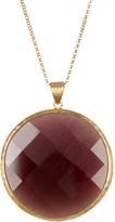 Rivka Friedman 18K Gold Clad Faceted Purple Cat's Eye Crystal Round Pendant Necklace