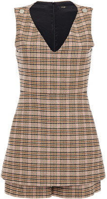 Maje Layered Prince Of Wales Checked Woven Playsuit
