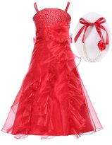 Bow Dream Graduation Pageant and Flower girl Long Dress Organza