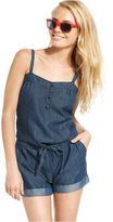 Freestyle Juniors Jumpsuit, Sleeveless Sweetheart Tie Cuffed Chambray Denim Romper