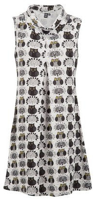 Dorothy Perkins Womens *Izabel London Multi Colour Owl Print Turtle Neck Shift Dress