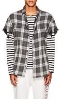 R 13 Men's Plaid Cotton Oversized Cut-Off Shirt